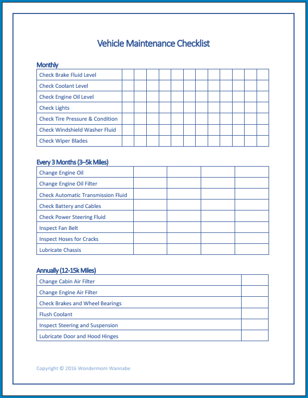 Printable Truck Checklist Template