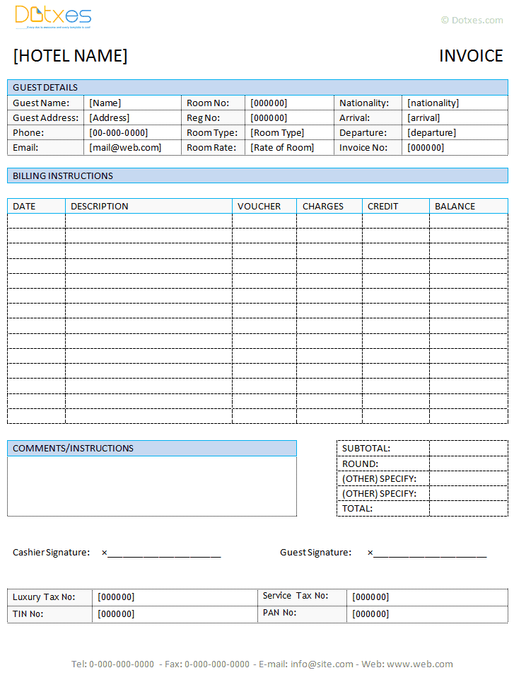 Printable Word Document Invoice Template