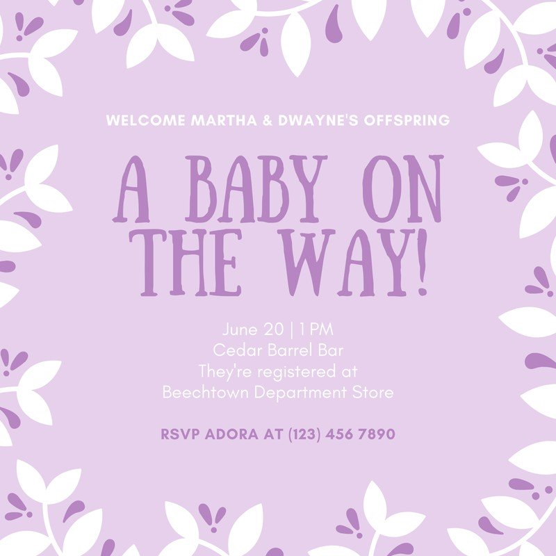 Purple Baby Shower Invitation Templates