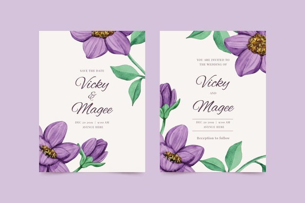 Purple Flower Invitation Template