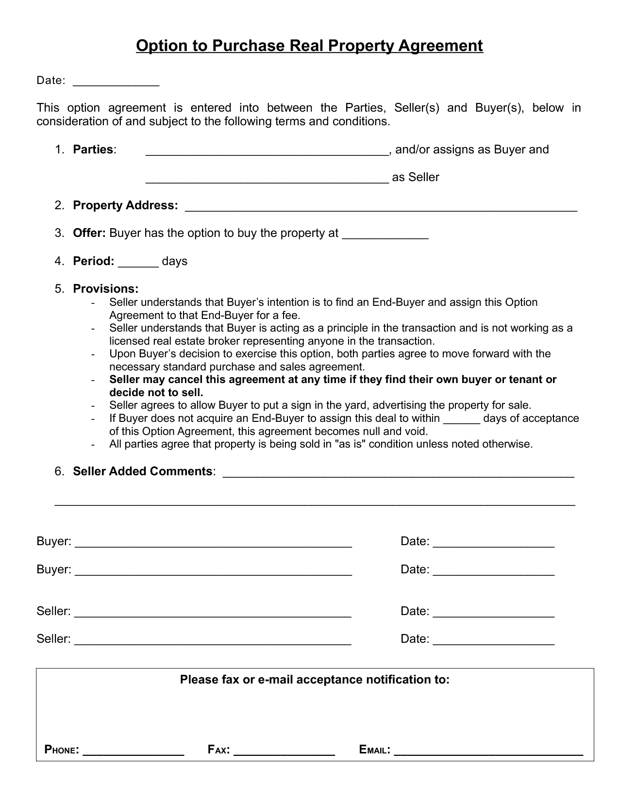 Real Estate Purchase Agreement Template Word