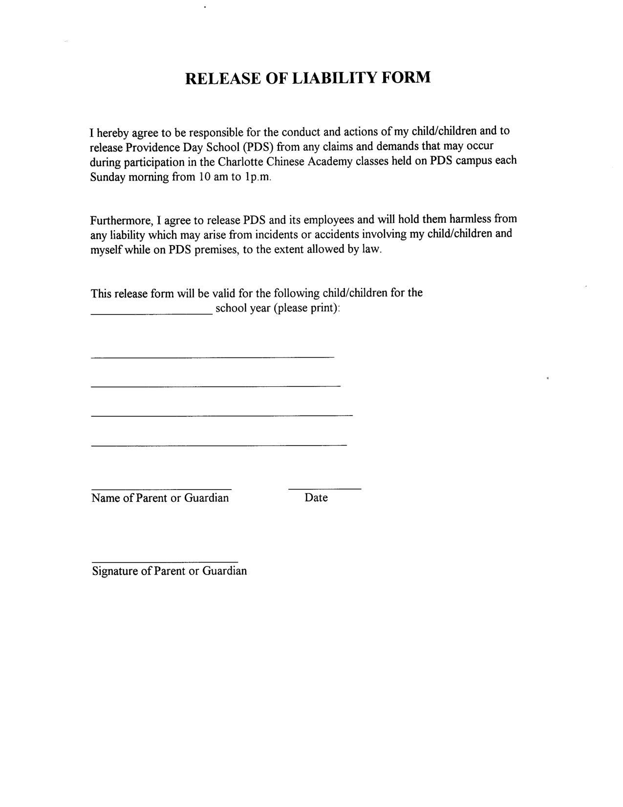Release From Liability Form Template