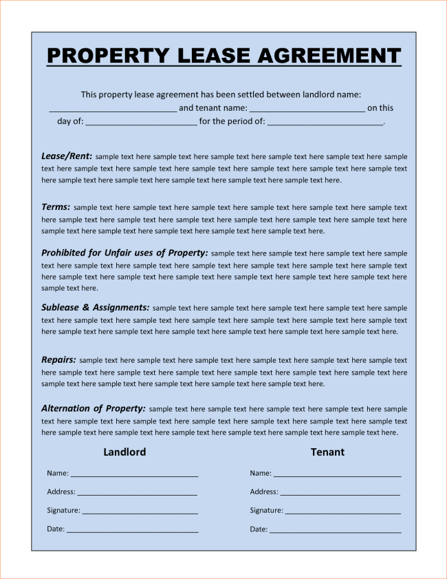 Rental Property Lease Template