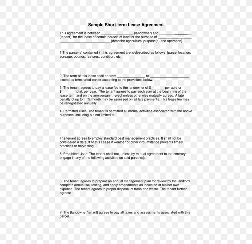 Renting Contract Template