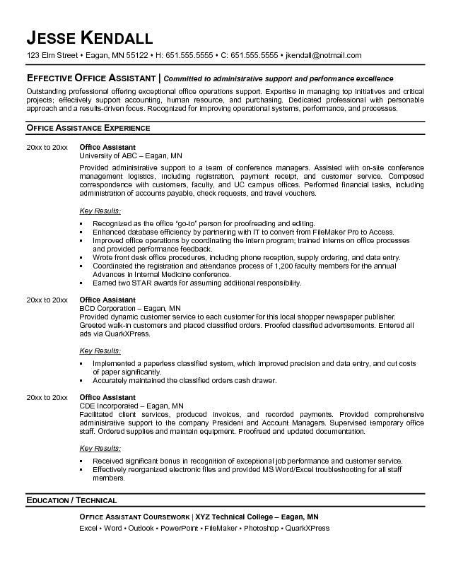 Resume Templates For Administrative Assistant