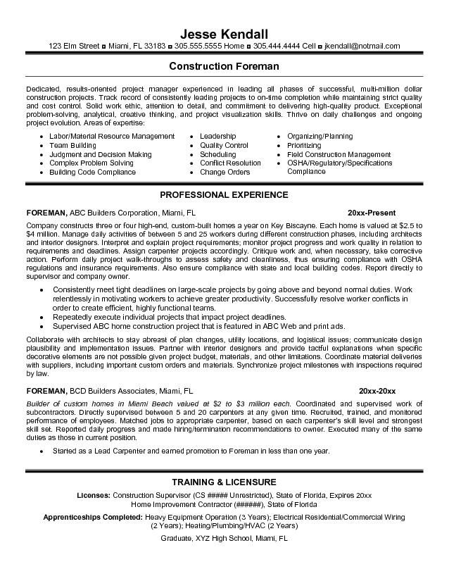 Resume Templates For Construction Foreman