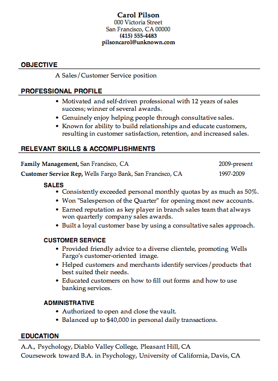Resume Templates For Sales And Customer Service