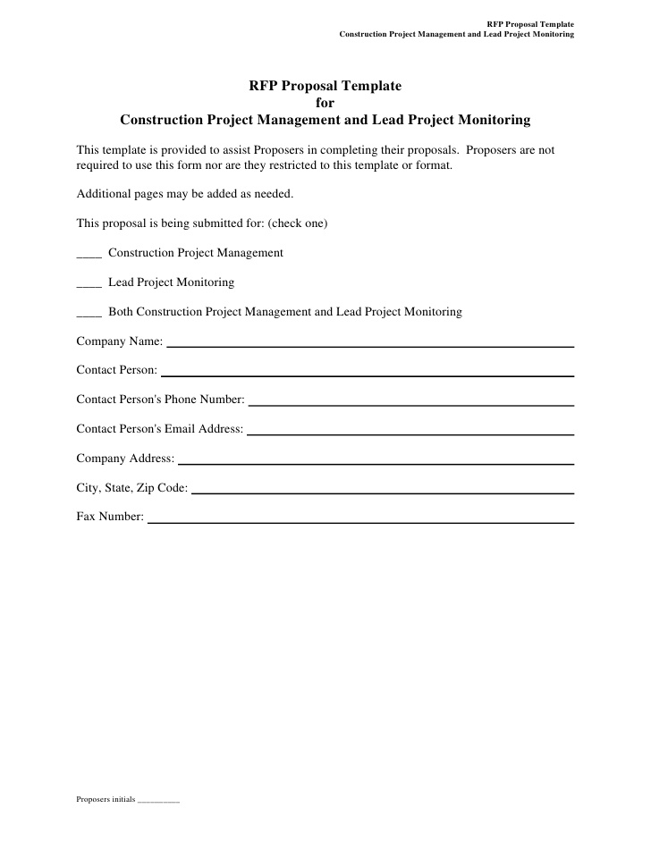 Rfp Template For Construction Project