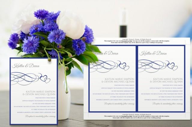 Royal Blue Editable Wedding Invitation Template