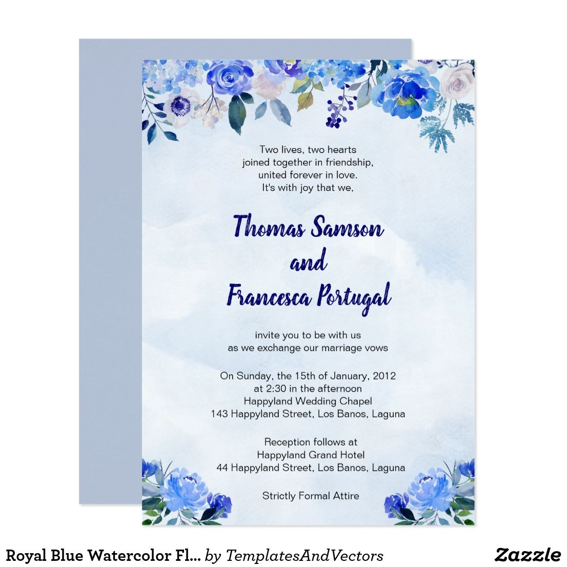 Royal Blue Wedding Invitation Card Template