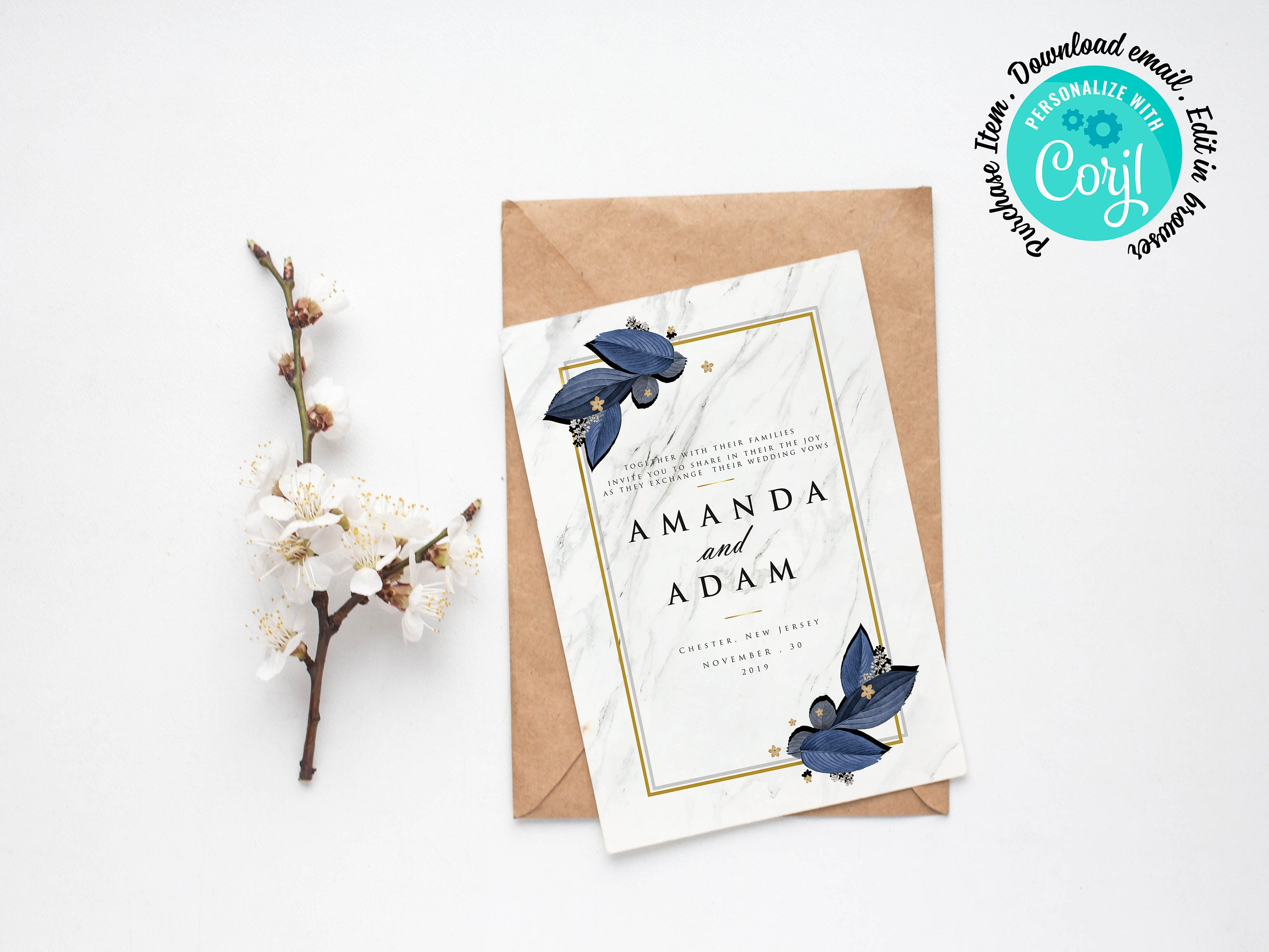 Royal Blue Wedding Invitation Design Template