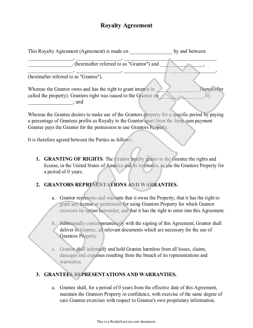 Royalty Contract Template