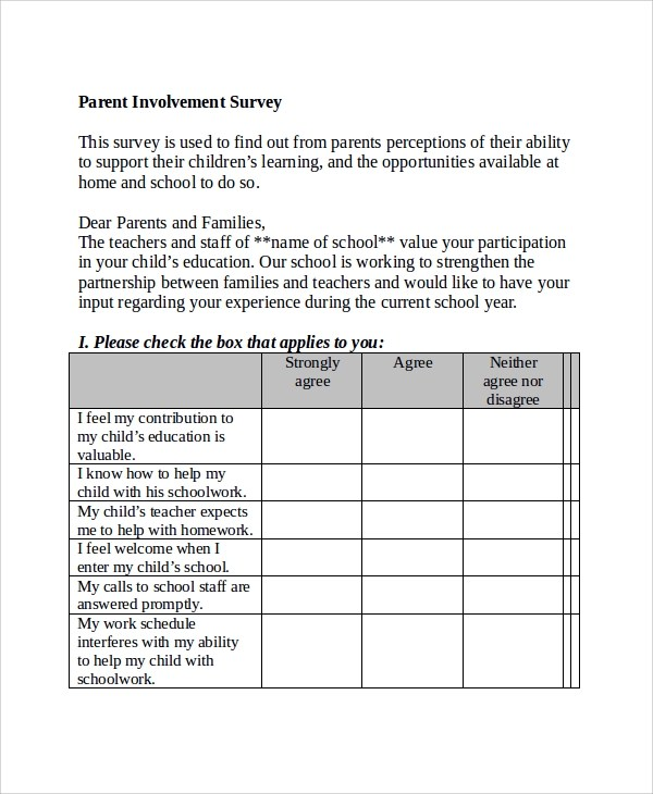 Sample Survey Template In Word