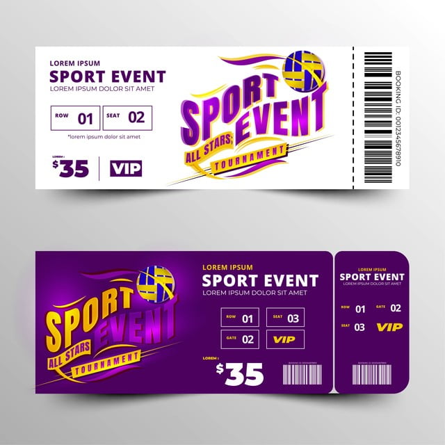 Sports Event Ticket Template Design Vector