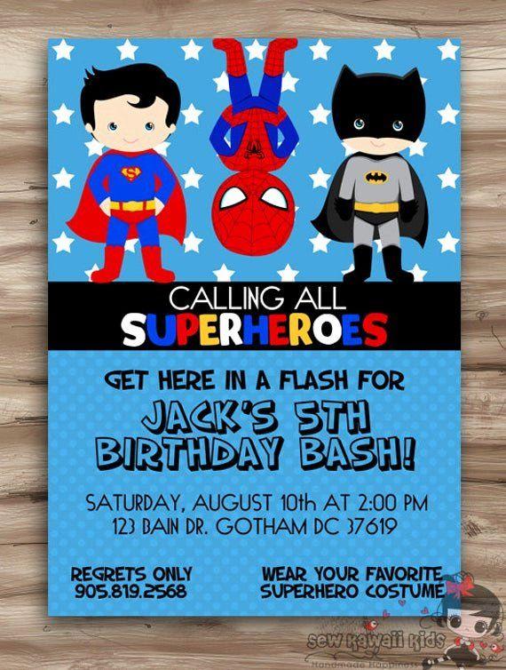 Superhero Birthday Party Invitation Template Free