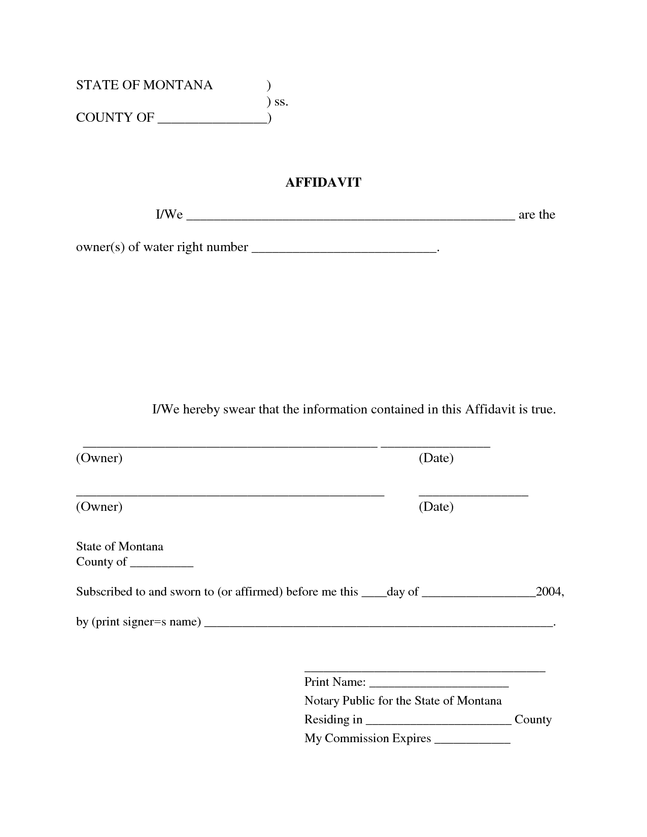 Template Blank Affidavit Form