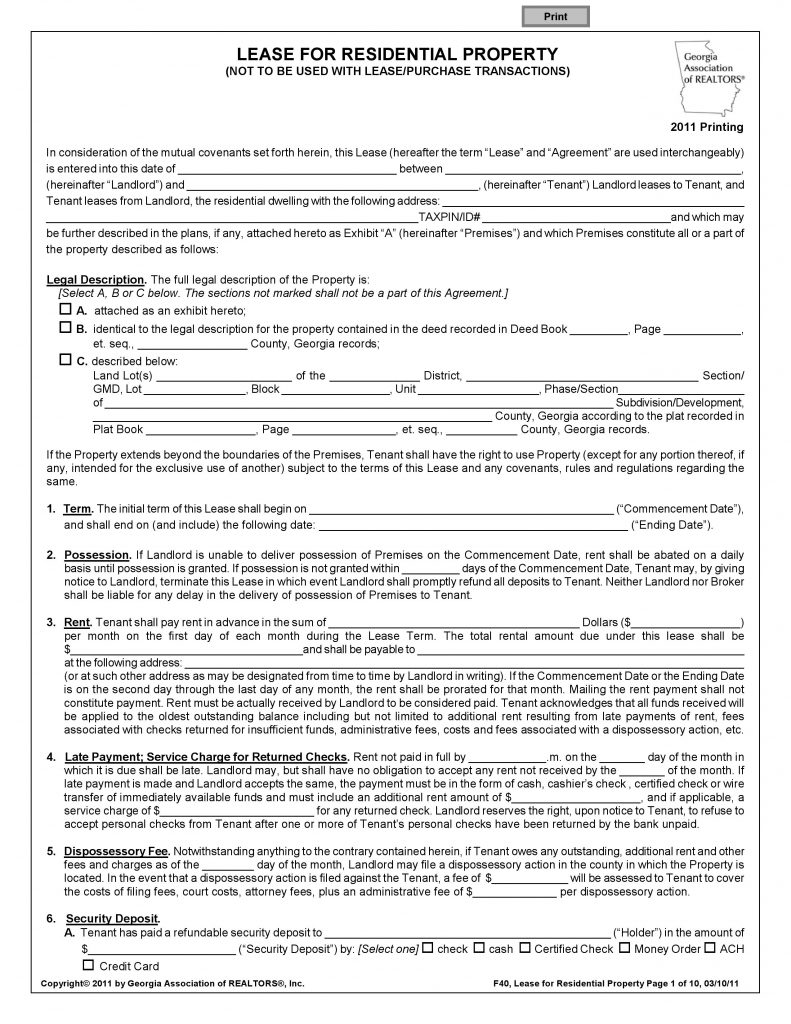 Template Blank Residential Lease Agreement