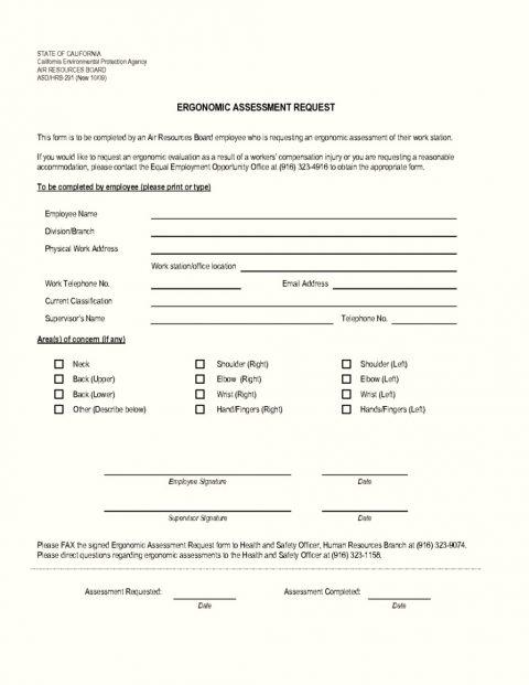 Template Ergonomic Assessment Form