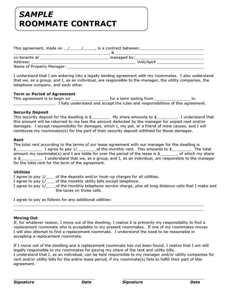 Free Fill In The Blank Lease Agreement Brilliant Roommate Rental Agreement Template Free
