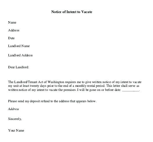 Template For Notice To Vacate Apartment