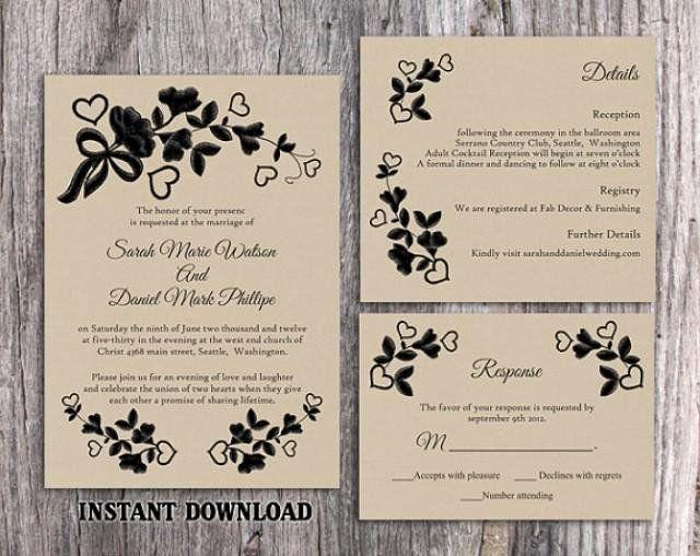 Templates Diy Rustic Wedding Invitations
