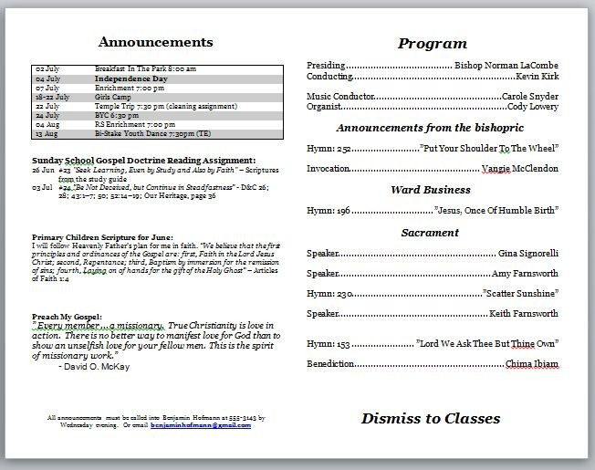Templates For Church Programs