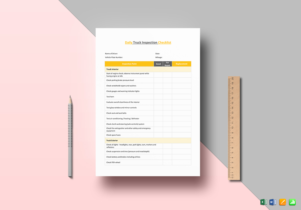 Truck Inspection Checklist Template Excel