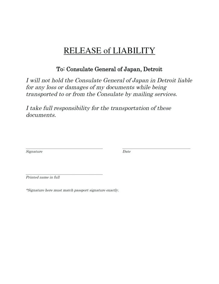 Waiver Of Responsibility Template