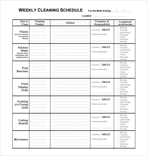 Weekly Commercial Kitchen Cleaning Schedule Template