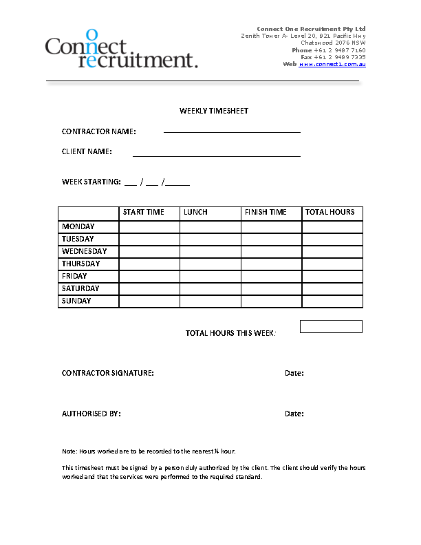 Weekly Contractor Timesheet Template