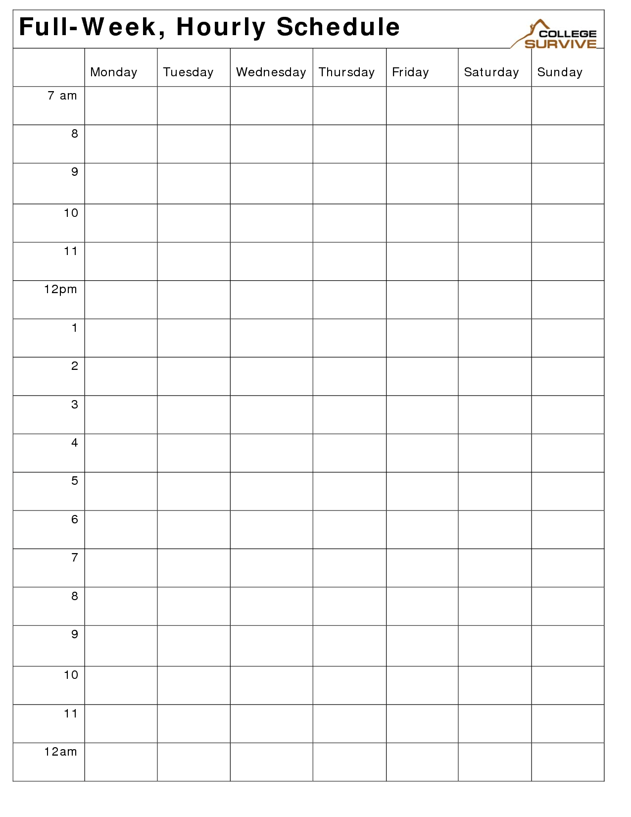 Weekly Hourly Work Schedule Template