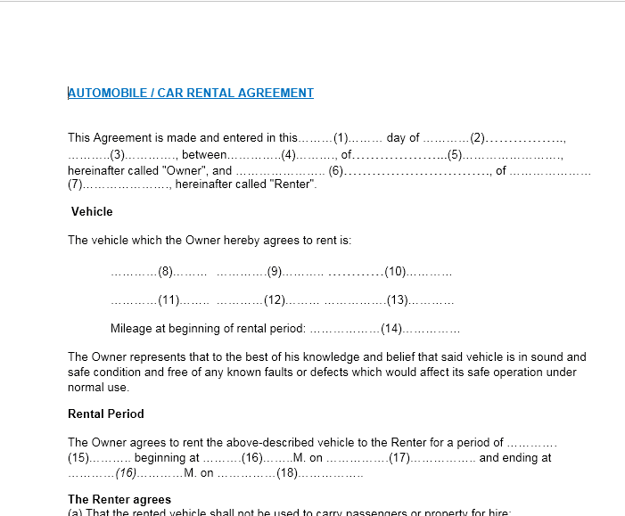 Word Car Rental Agreement Template