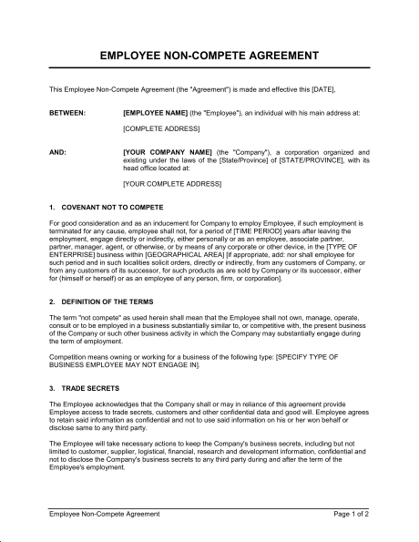 Word Employee Non Compete Agreement Template