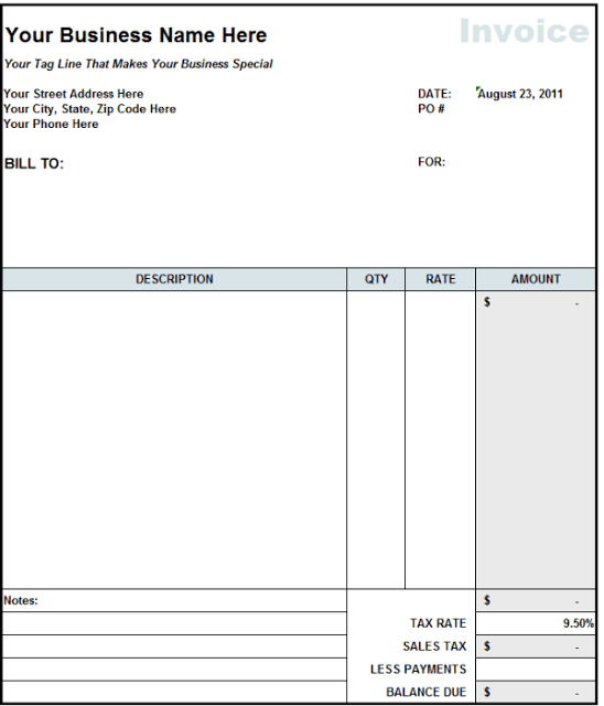 Word Invoice Template For Consulting Services