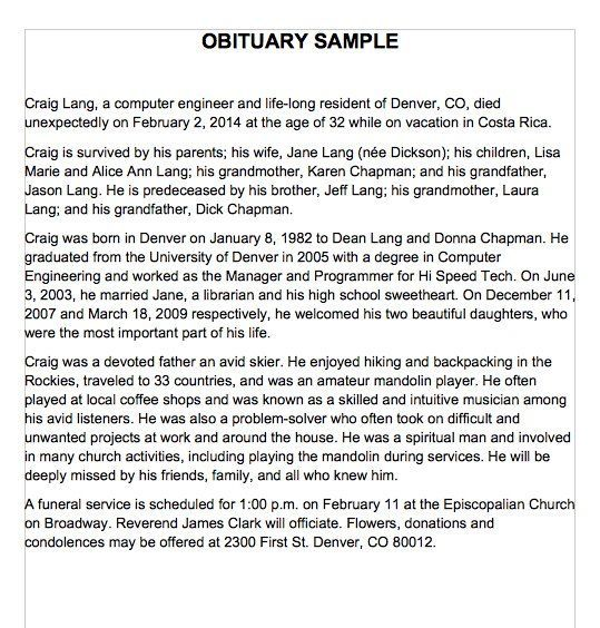 Writing Obituaries Templates