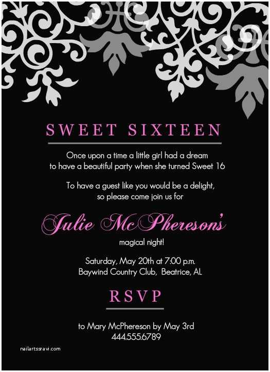 16th Birthday Party Invitations Sweet 16th Birthday Invitations Templates Free Printable