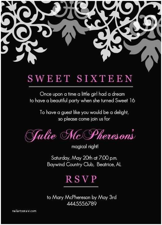 16th Birthday Party Invitations Sweet 16th Birthday Invitations Templates Free Printable