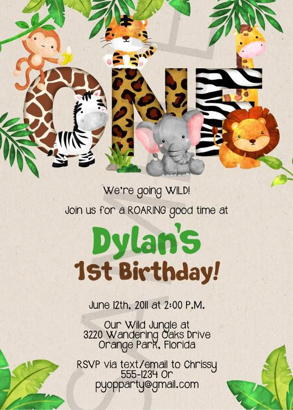 1st Birthday Jungle Invitation Template