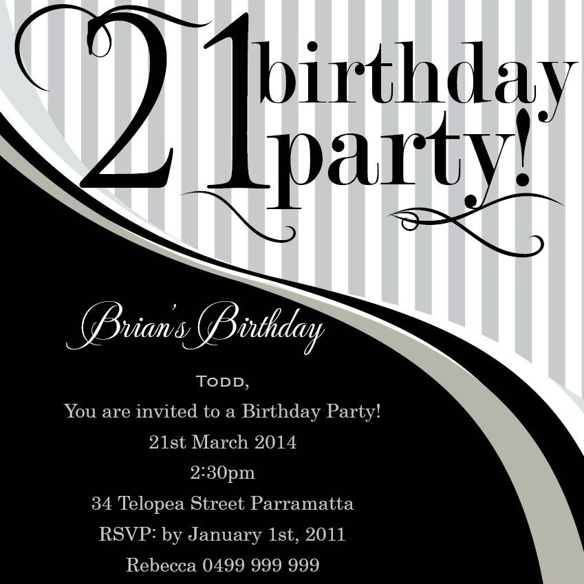 21st Birthday Party Invitation Templates