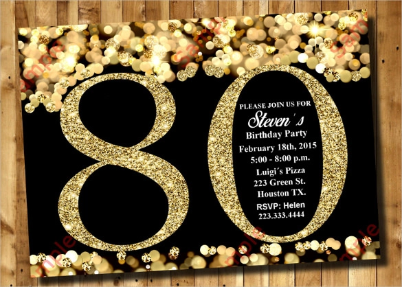 80th Birthday Invitation Templates Free Download