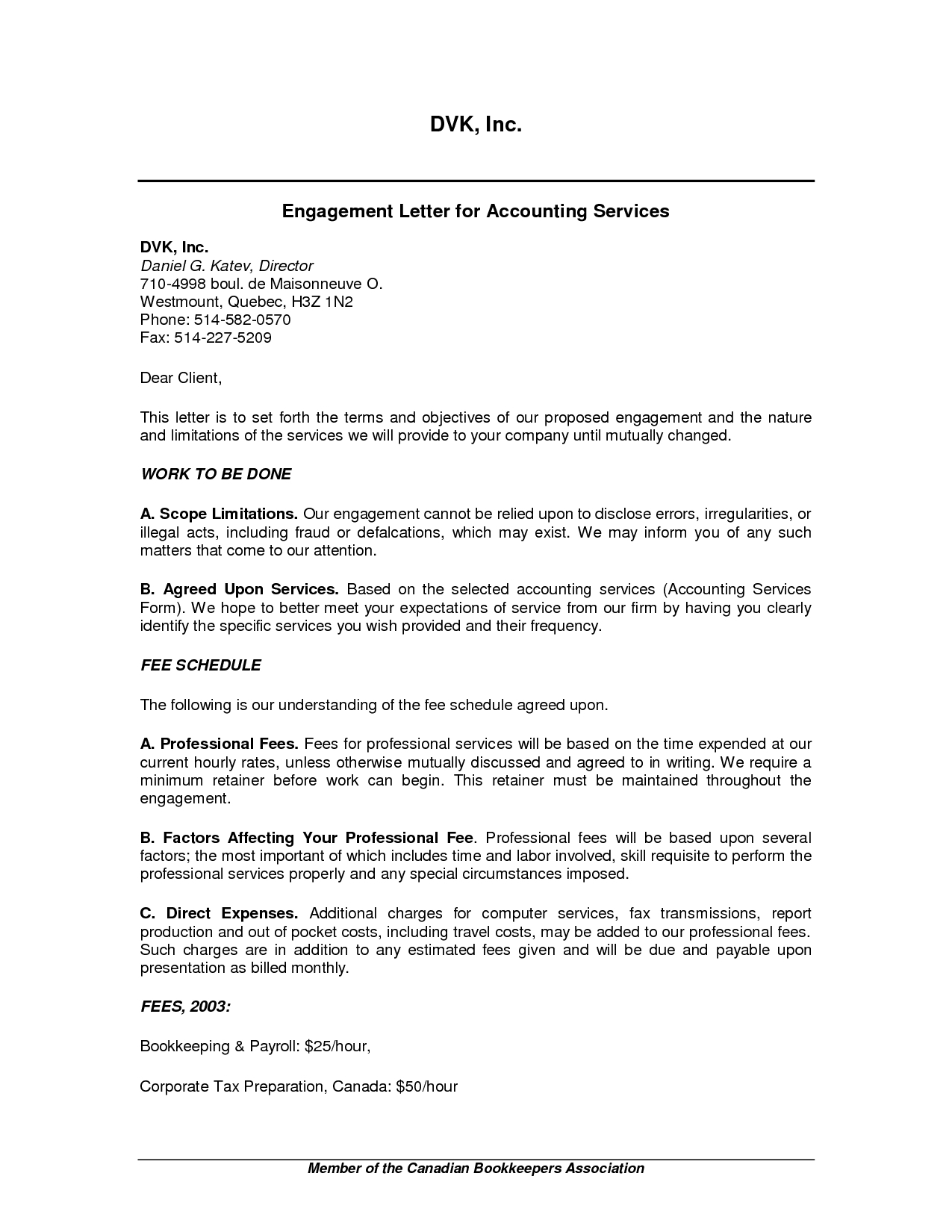 Accounting Engagement Letter Template