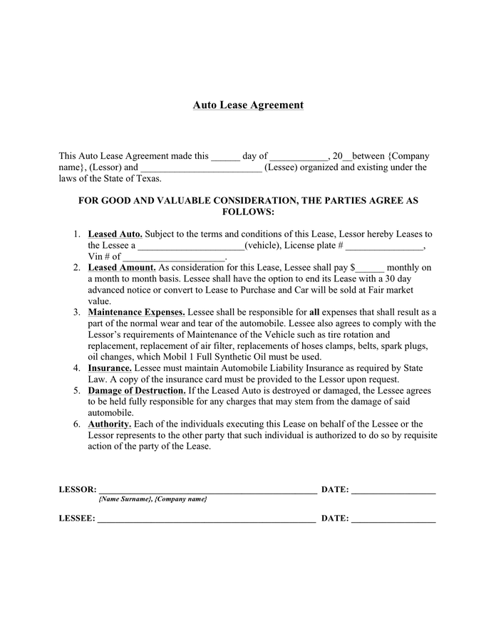 Auto Lease Agreement Template