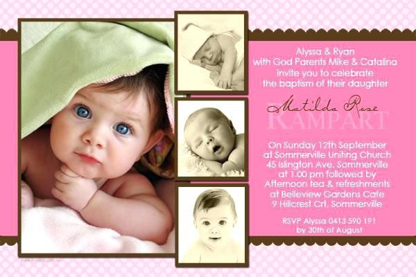 Baby Girl Baptismal Invitation Template