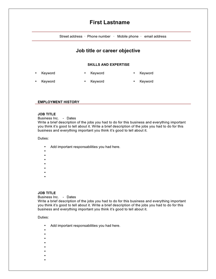 Blank Cv Template Download Word