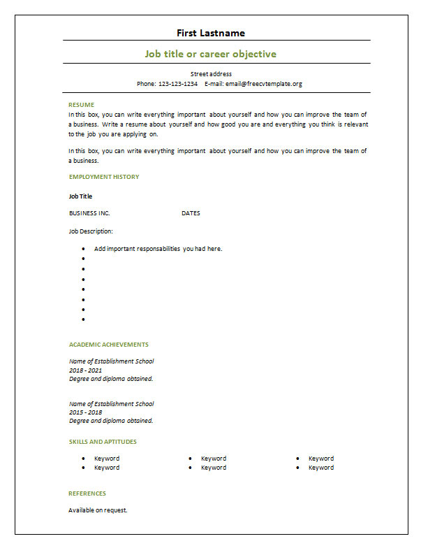 Blank Cv Template Download
