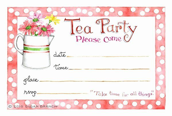 Blank Tea Party Invitations Template