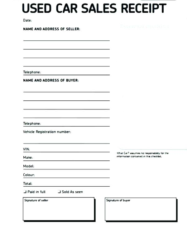 Car Sales Invoice Template Word