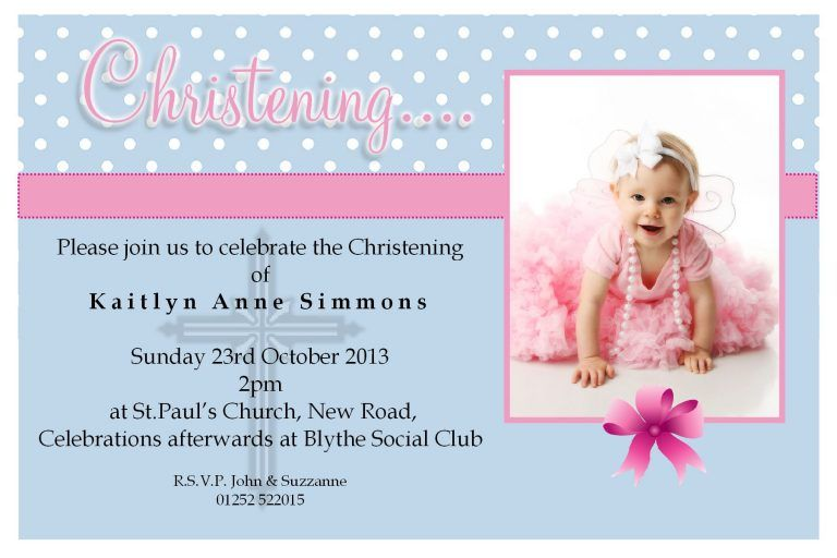 Christening Invite Wording Template