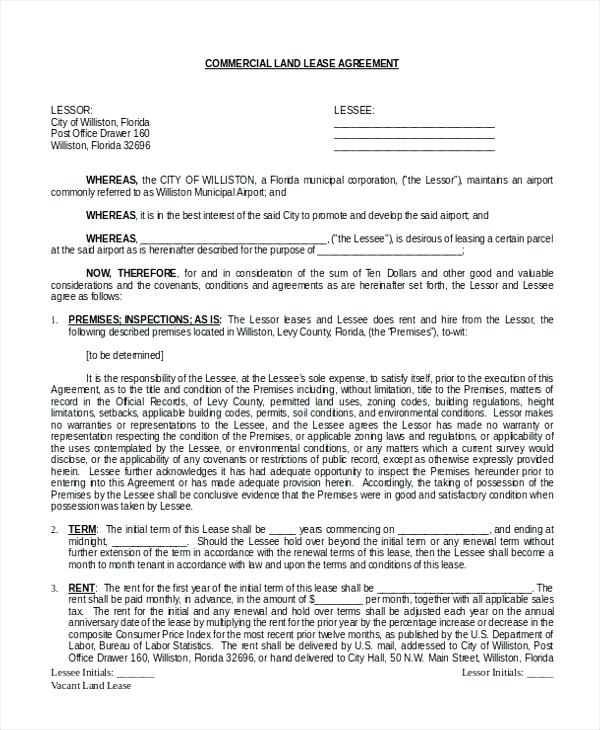 Commercial Property Lease Agreement Free Template