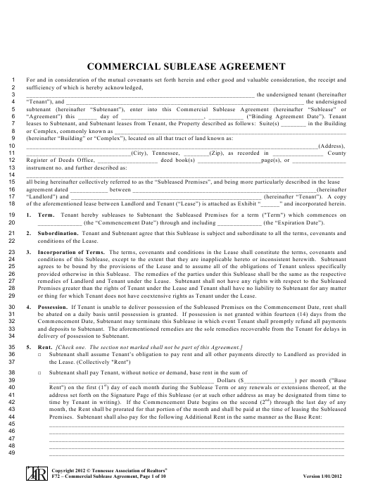Commercial Sublease Agreement Template Download